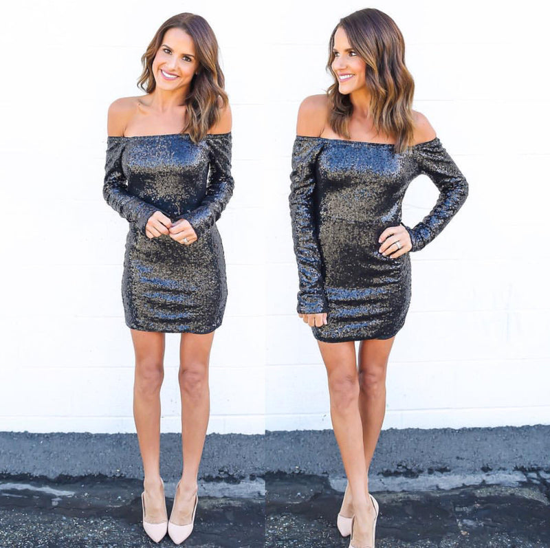 Sexy Sequins Off Shoulder Long Sleeve Short Bodycon Dress - Oh Yours Fashion - 5