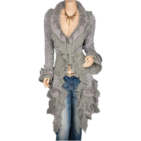 Ruffles Deep V-neck High Collar Irregular Cardigan