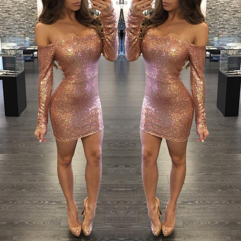 Sexy Sequins Off Shoulder Long Sleeve Short Bodycon Dress - Oh Yours Fashion - 3