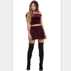 Double Button Lace Up Bodycon Short Sexy Skirt
