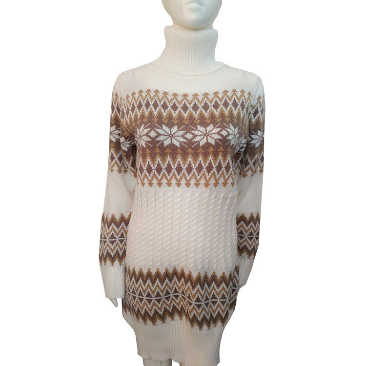 Fashion Long Sleeve High Neck Print Long Knit Sweater - Oh Yours Fashion - 3