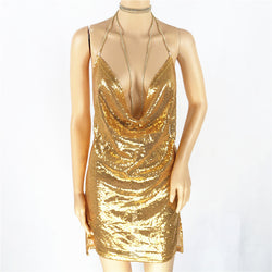Sequins Halter Backless Short Bodycon Club Dress - Oh Yours Fashion - 2