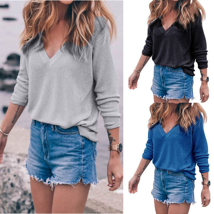 V-neck Pure Color Long Sleeves T-shirt