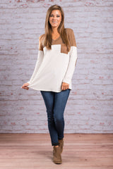 Fashion Contrast Color Long-Sleeve Round Neck Blouse - Oh Yours Fashion - 7