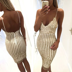 Sequins Spaghetti Strap Stripe Bodycon Knee-Length Dress - Oh Yours Fashion - 1