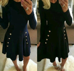 Button Decorate High Waist Long Sleeve Scoop Dress - Oh Yours Fashion - 3