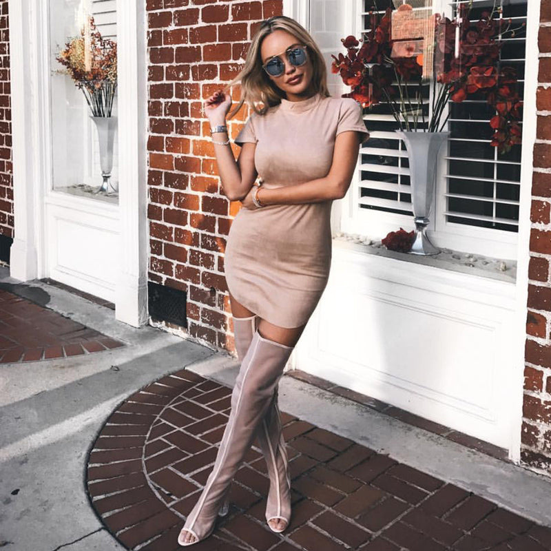 Fashion Suede Short Sleeve Irregular Bodycon Short Dress - Oh Yours Fashion - 3