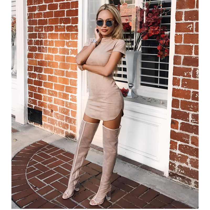 Fashion Suede Short Sleeve Irregular Bodycon Short Dress - Oh Yours Fashion - 7