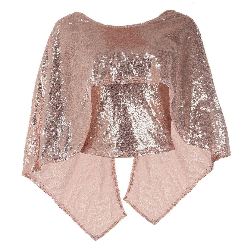 Sexy Sequins Capelet Backless Club Blouse