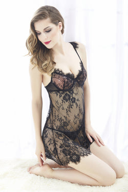Sexy lingerie Sleeveless Lace Dress Suit