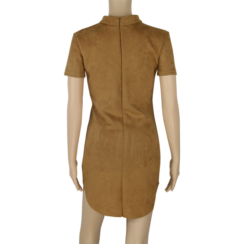 Fashion Suede Short Sleeve Irregular Bodycon Short Dress - Oh Yours Fashion - 9