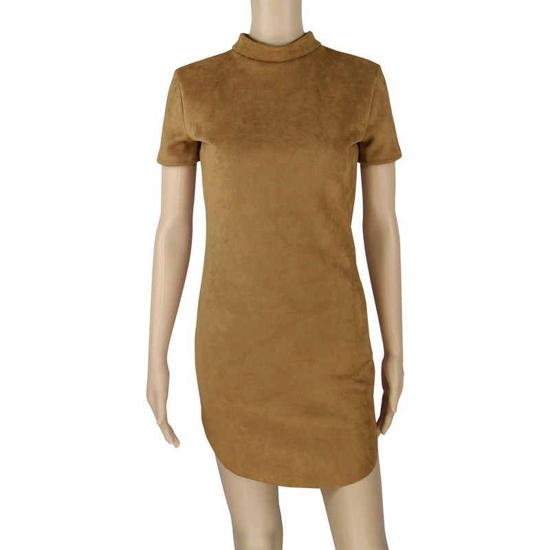 Fashion Suede Short Sleeve Irregular Bodycon Short Dress - Oh Yours Fashion - 8