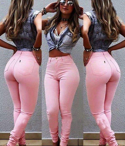 Pink Casual Denim High Waist Slim Long Pants