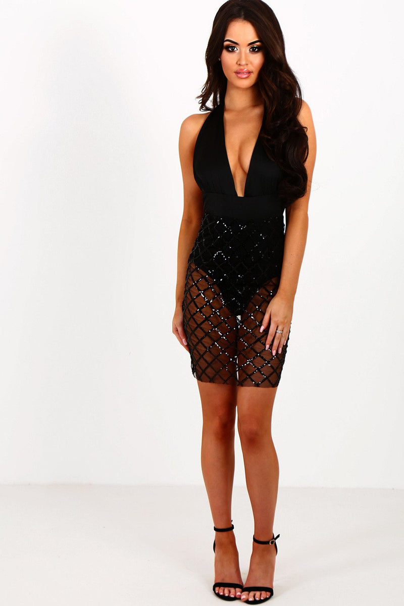 Sequins Halter V-neck Backless Short Bodycon Dress