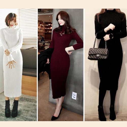 Fashion Ribbed High Neck Long Sleeve Knit Long Sweater