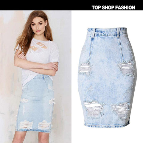 Bagger Style Holes High Waist Slim Short Denim Skirt