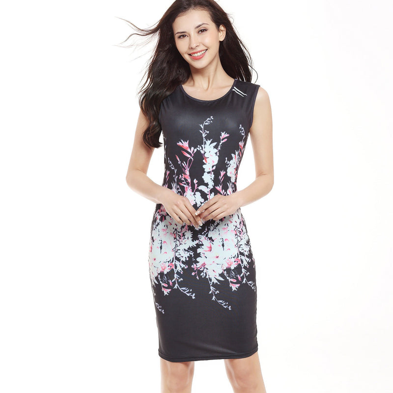 Floral Print Sleeveless Scoop Knee-length Bodycon Dress