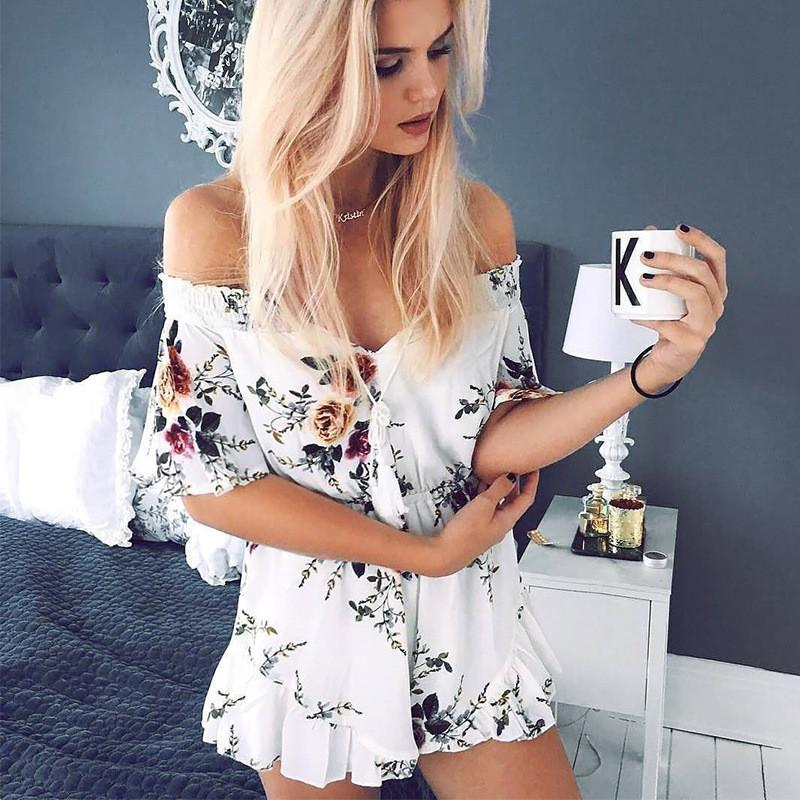 Off Shoulder Flower Print Short Beach Jumpsuit