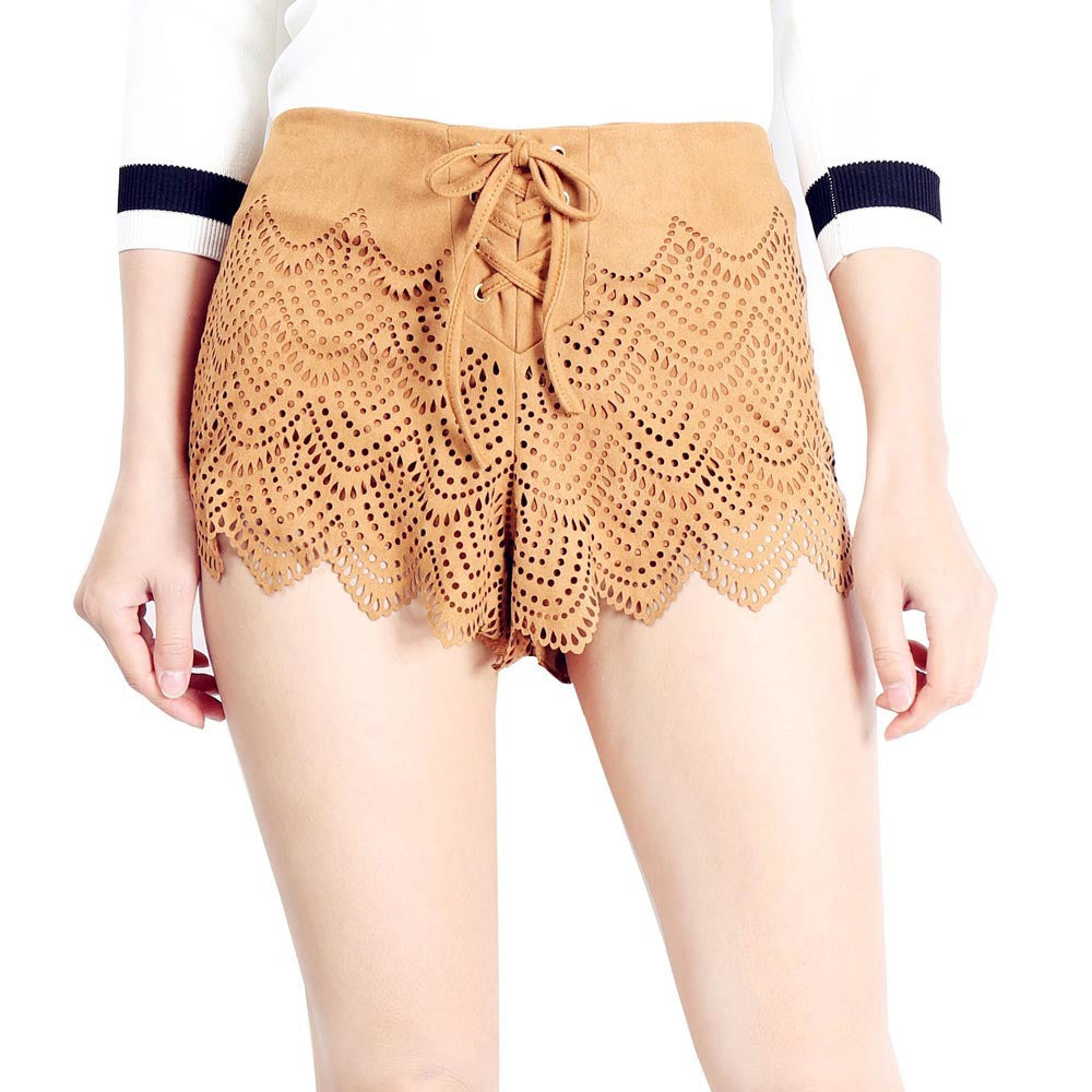 Bohemian High Waist Suede Hollow Out Beach Shorts