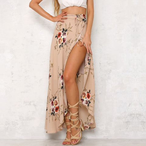 2019  Fashion Bohemian Flower Print Split ends Flare Maxi Skirt