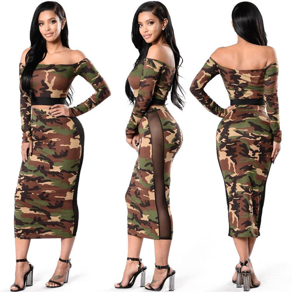 Print Off Shoudler Crop Top with Long Skirt Two Pieces Dress Set