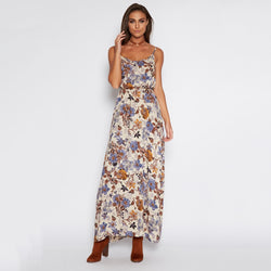 Spaghetti Straps High Waist Floral Print Long Dress