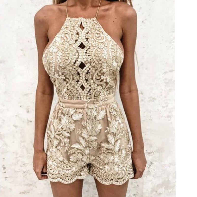 Sexy Lace Condole Belt Golden Backless Short Jumpsuits