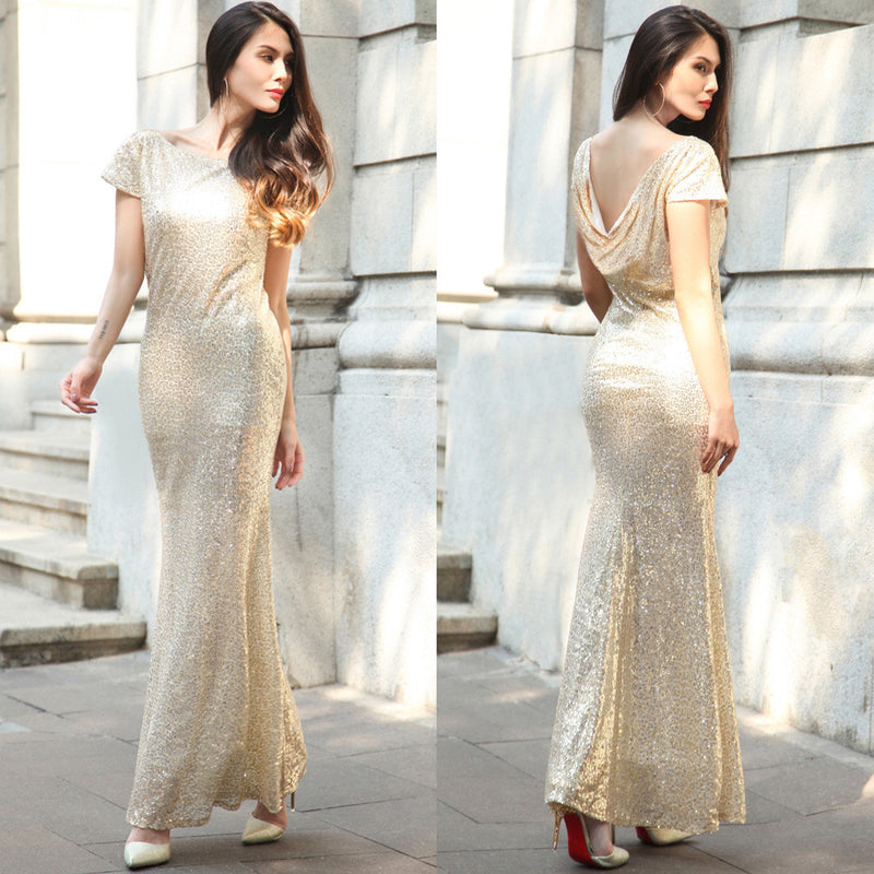 Sequins Drop Back Long Mermaid Bridesmaid Dress