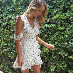 Bear Shoulder Half Sleeves V-neck Polka Dot Short Beach Dress