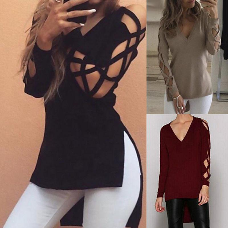 Sexy Split Irregular Scoop Pure Color Long T-shirt