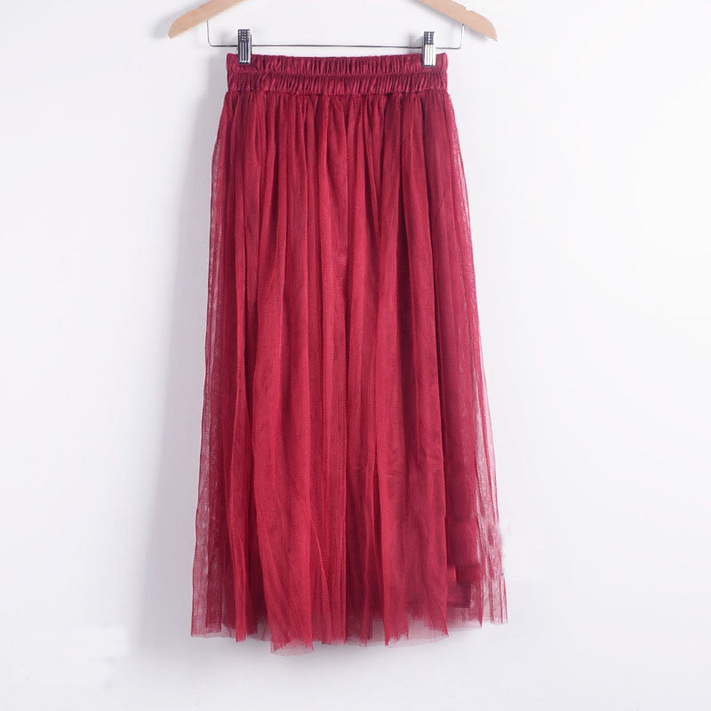 Double Layers Mesh Pleated Long Fluffy Beach Skirt - Oh Yours Fashion - 6