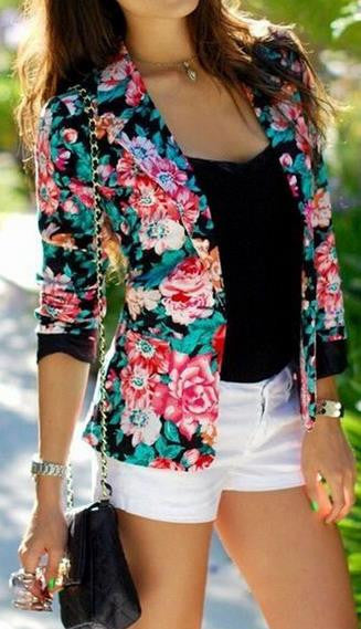 Turn-down Collar Slim Flower Print Fashion Short Coat - Oh Yours Fashion - 1