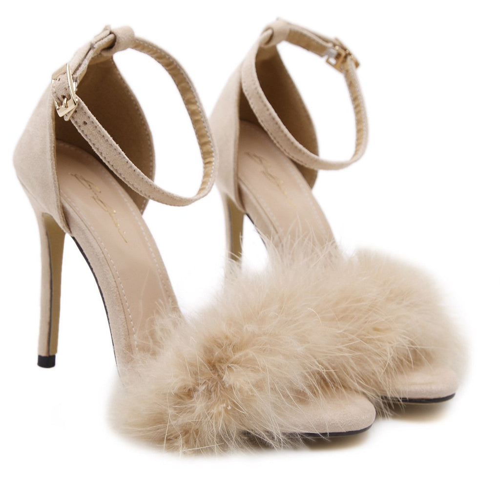 90dcbd1aa87 Stiletto PU Heel Peep-toe Fur Decorate Ankle Strap Sandals – Oh ...