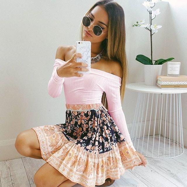 Sexy Ribbed-Knit Off-Shoulder Long Sleeve Slim Crop Top