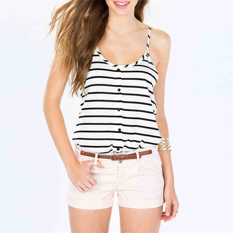 2017  Fashion  Spaghetti Strap Striped Button-down Top