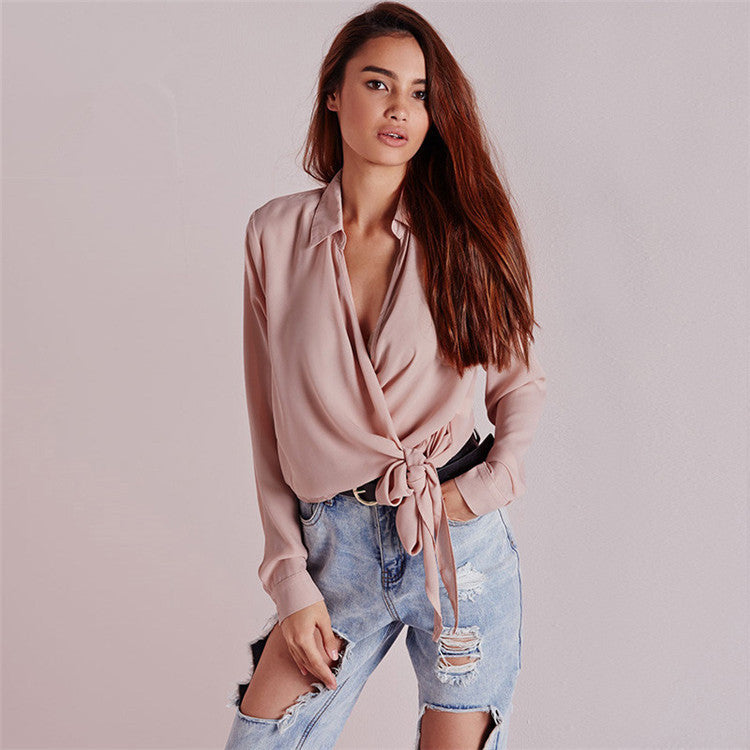 Summer Tying V-neck Sexy Long Sleeve Blouses