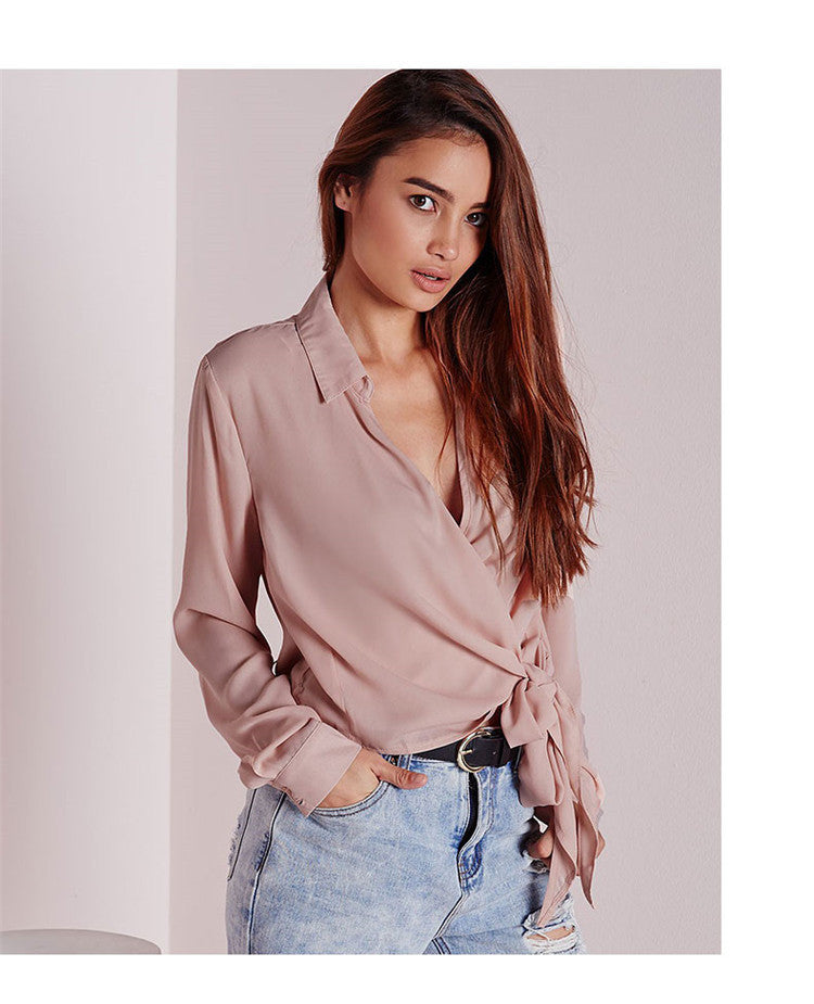 Summer Tying V-neck Sexy Long Sleeve Blouse