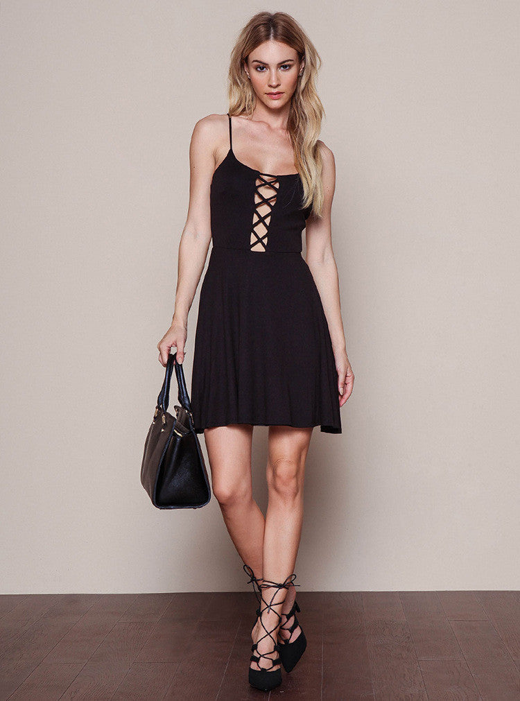 Sexy Backless Sleeveless Knitting Condole Belt Dress