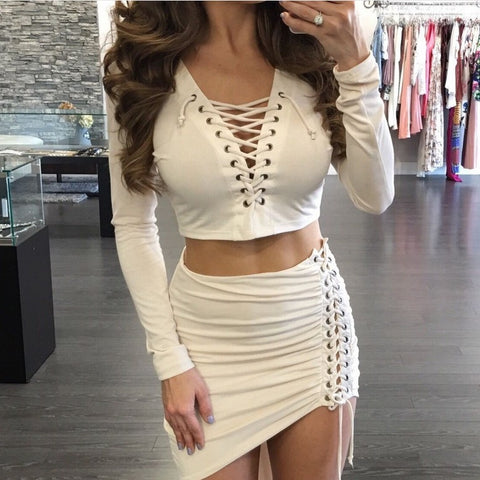 Straps Crop Top with Irregular Short Skirt Two Pieces Dress Set