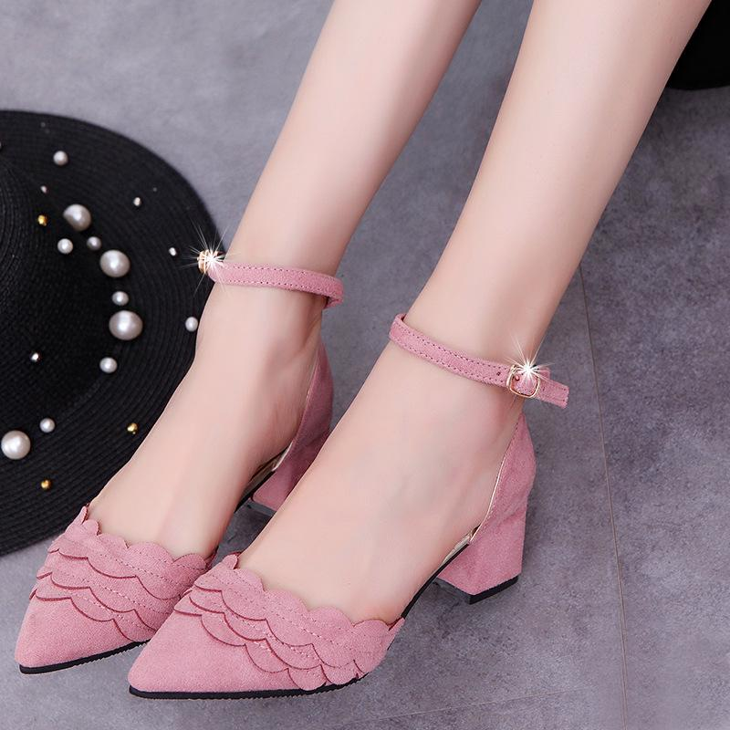 92e26269d12d Candy Color Ankle Wrap Pointed Toe Chunky Low Heels Shoes – Oh Yours ...