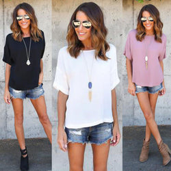 Short Sleeves Scoop Pure Color Casual T-shirt
