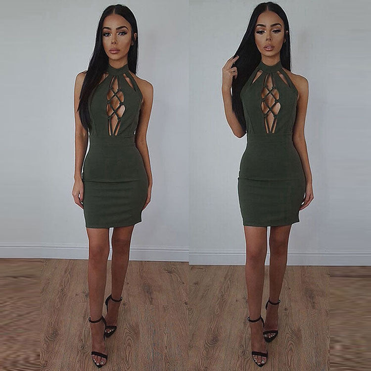 Pure Color High Neck Hollow Out Open Back Short Dress