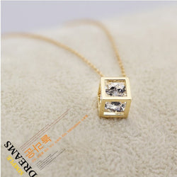 Crystal Zircon Cube Pendant Clavicle Necklace