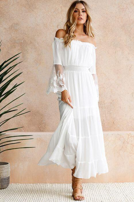 Pure Color Off Shoulder Strapless Lace Long  Dress