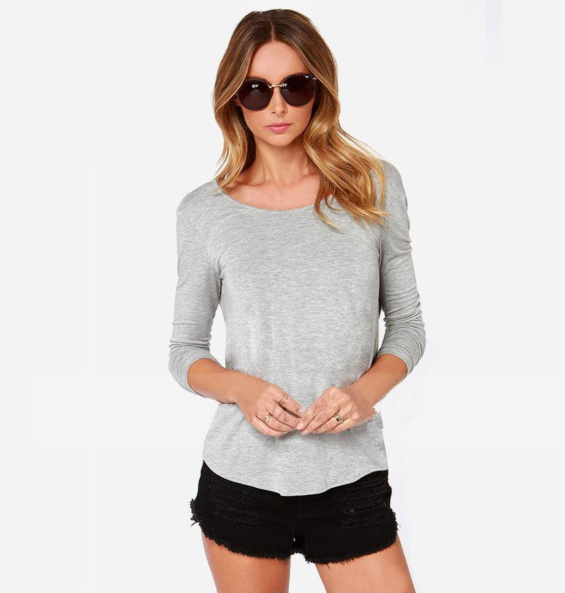Backless Back Cross Scoop Long Sleeves Sexy Blouse