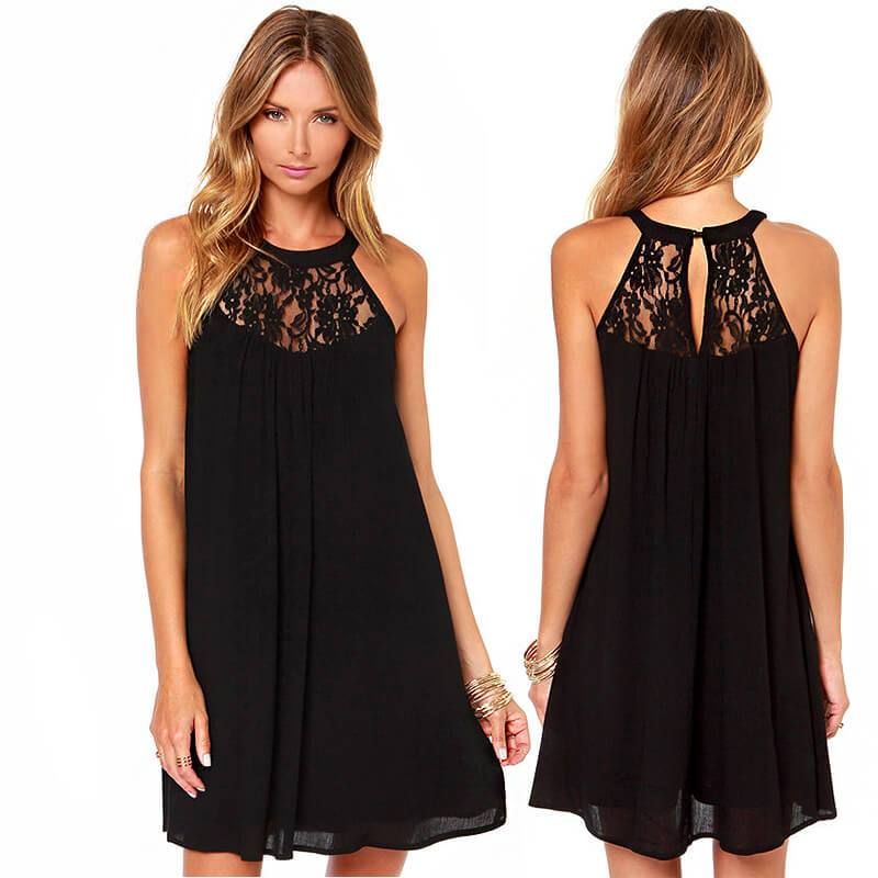 Spaghetti Straps Lace Chiffon Patchwork Backless Pleated Short Dress