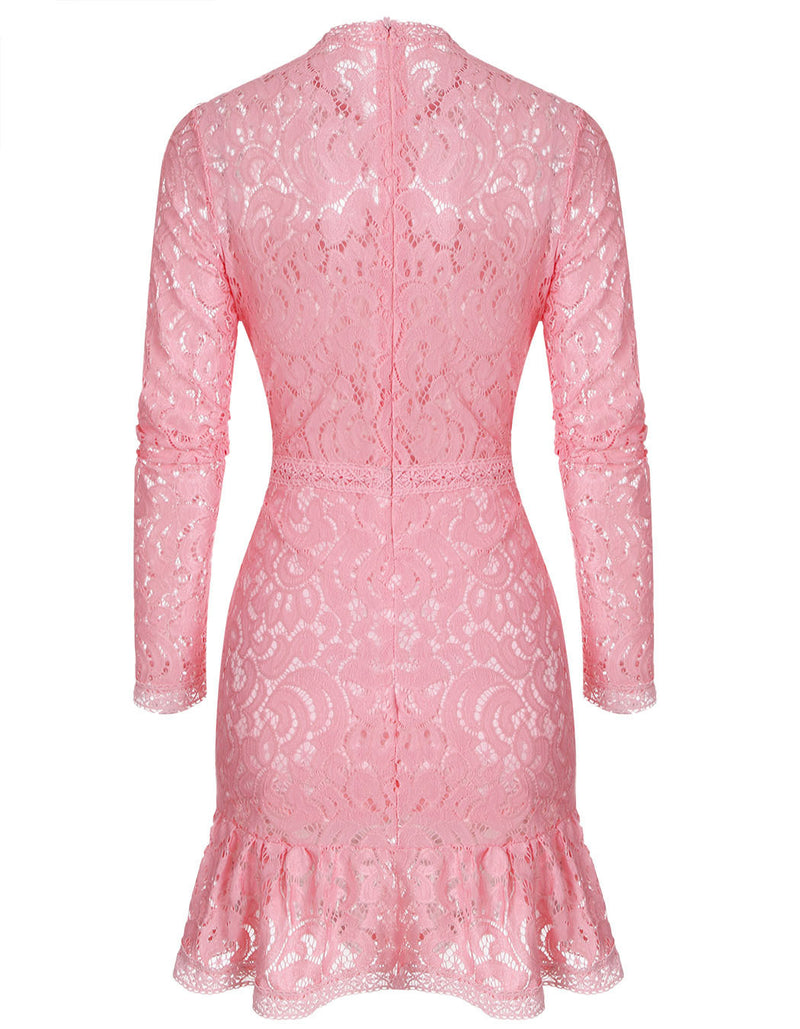 Sexy Long Sleeve Hollow Out Lace Short Dress