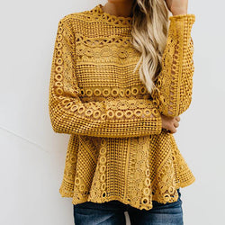Pure Color Lace Long Puff Sleeves Blouse