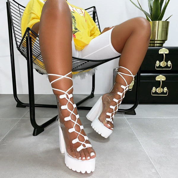 Candy transparent PVC thick heel Boots