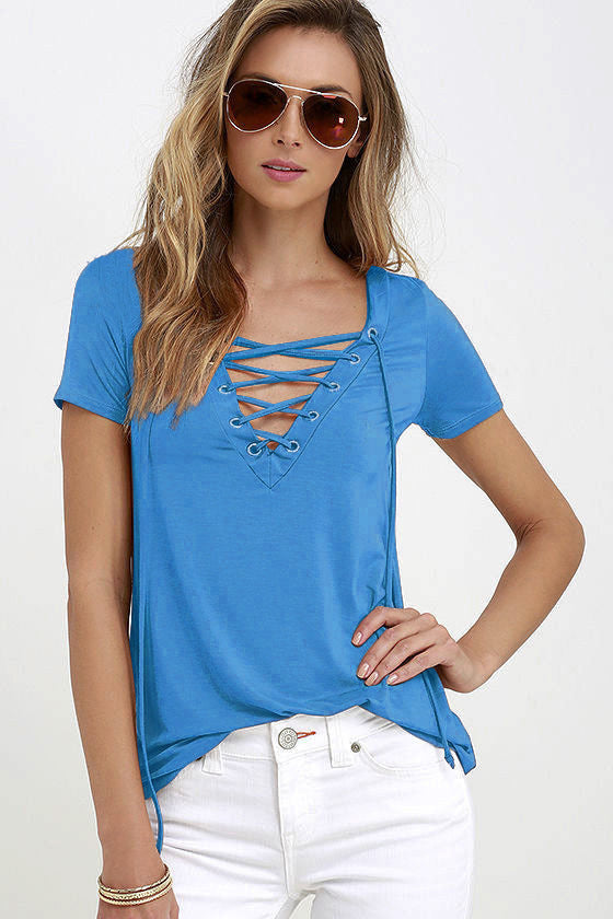Pure Color V-neck Lace Up Short Sleeve T-shirt